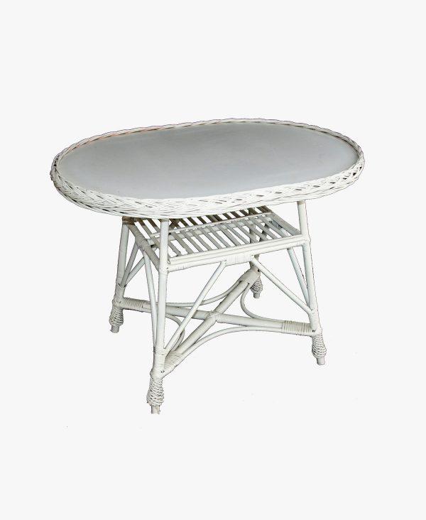 stolik wiklinowy owalny biały